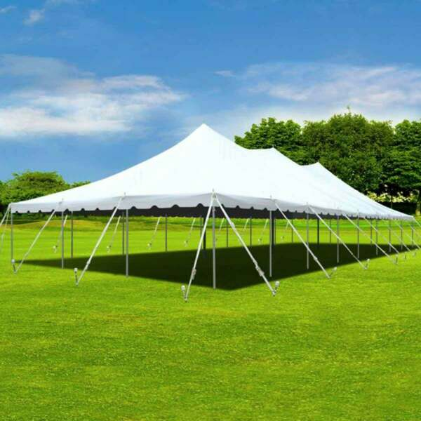 30x100' Pole Tent Premium Party Event Canopy Waterproof Fire Retardant Vinyl Top