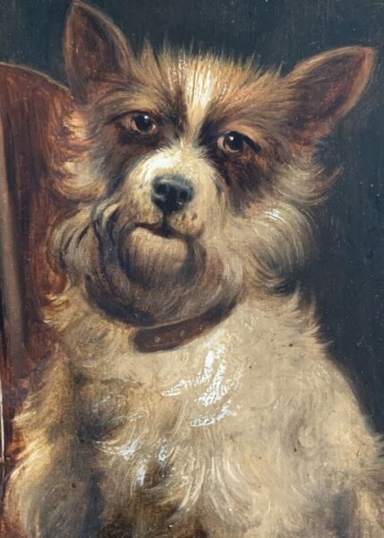 Charles Dudley signed original oil painting of a dog and violin ~ 19th Century