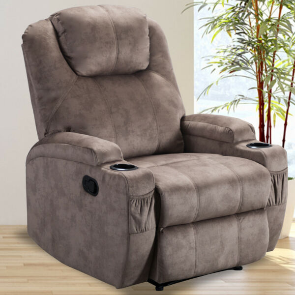Manual Recliner Chair Soft Fabric Sofa Armchair Cup Holder Home Theater Seating