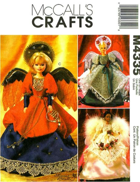 """LAST 11½"""" FASHION DOLLS ANGEL COSTUMES WINGS amp; HALO SEWING PATTERN McCalls 4335 $15.99"""
