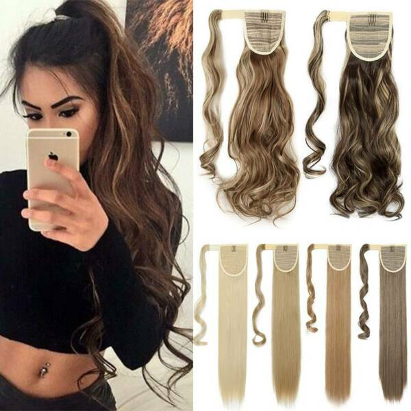 US Long Straight Clip in Ponytail Hair Extension THICK Pony Tail For Human Brown