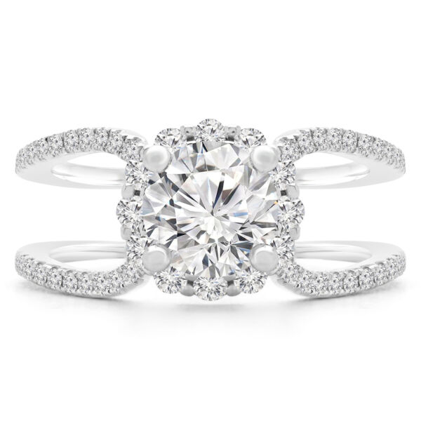 1.4 CT VS2 F ROUND DIAMOND HALO ENGAGEMENT RING 18K WHITE GOLD