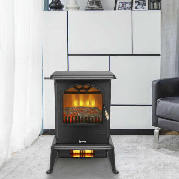 1500W Infrared Space Heater Free Standing Electric Fireplace 3D Flame Stove US