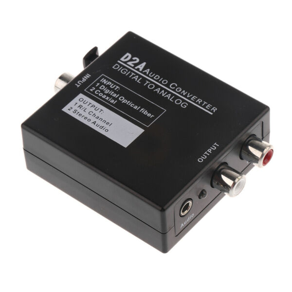 Optical Coax Digital Toslink to Analog Audio RCA Adapter Converter 3.5mm