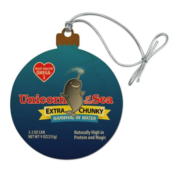 Narwhal Unicorn of the Sea Wood Christmas Tree Holiday Ornament
