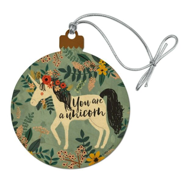 You are a Unicorn Unique Flowers Wood Christmas Tree Holiday Ornament