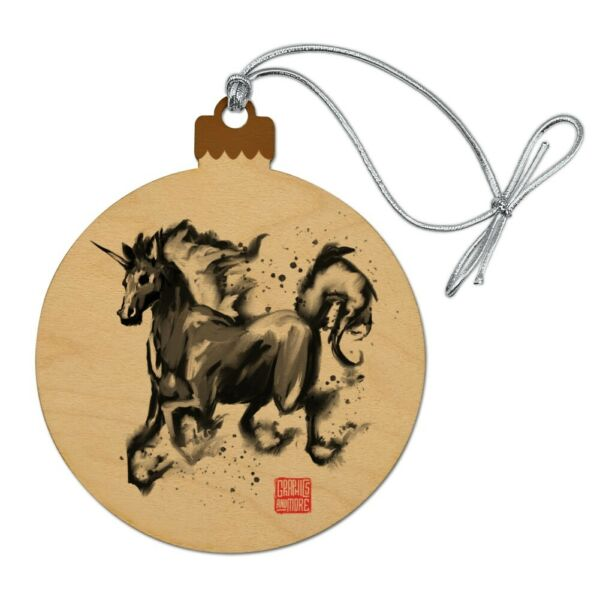 Unicorn Traditional Chinese Ink Painting Wood Christmas Tree Holiday Ornament