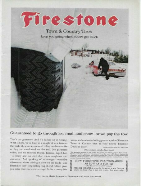 1965 Firestone Town amp; Country Tires Snow Chevy Chevelle Original Color Print Ad
