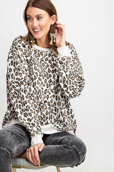 Easel Leopard Print Terry Knit Pullover Sweatshirt W Distressed Detail
