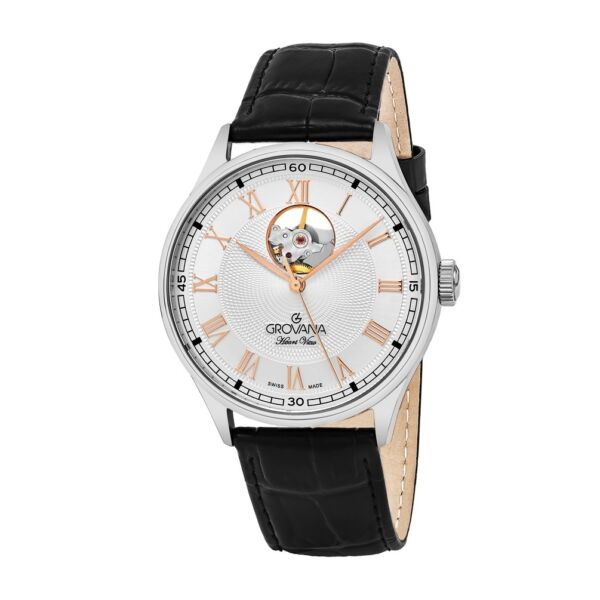 Grovana Heart View Swiss Made Automatic Men's Classic Dress Watch Leather NEW
