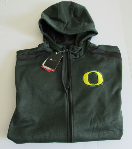 $95 NIke Oregon Ducks Therma Fit Zip Hoodie Green-Gray Shoulder NWT Size Small