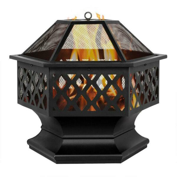 Fire Pit Heater Backyard Wood Burning Patio Deck Stove Fireplace Iron Brazier