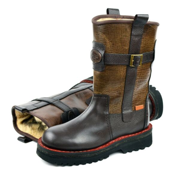 Extra Warm Winter Boots 100% Natural Leather + Natural dog's fur Hunting Fishing