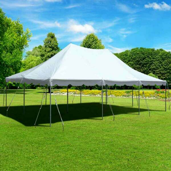 White 20x30' Premium Pole Tent Event Party Canopy Commercial Waterproof Vinyl