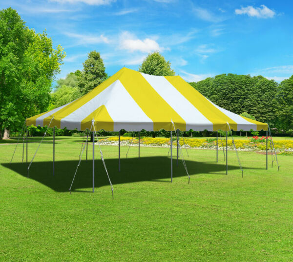 Yellow White 20x30' Premium Pole Tent Party Canopy Commercial Waterproof Vinyl