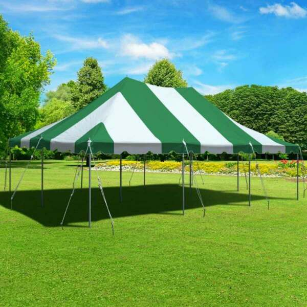 Green White 20x30' Premium Pole Tent Party Canopy Commercial Waterproof Vinyl