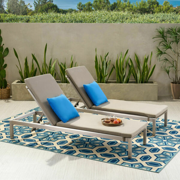 Cherie Outdoor Chaise Lounge with Cushion Khaki and Gray $732.21