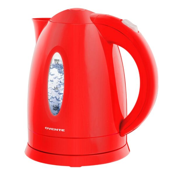 Ovente Electric Water Kettle 1.7 Liter LED Indicator 1100W BPA Free Red KP72R $20.99