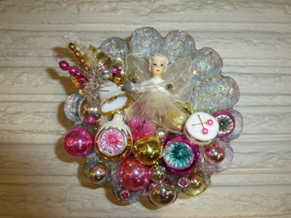 OOAK Vintage Christmas Ceramic Head Angel in Large Tart Tin Pink Gold Decor