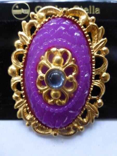 Vtg Purple Carved Plastic Faux Sapphire Gold Metal Cameo Pin Golden Stella USA