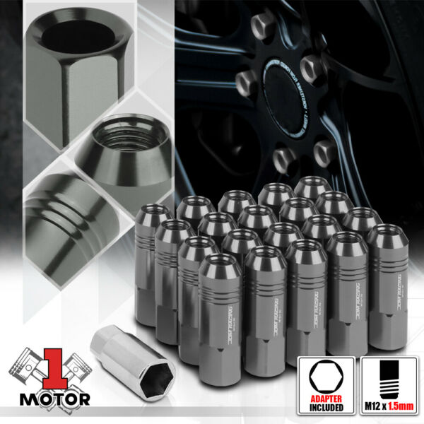 (20)Gunmetal M12x1.5 60mm Aluminum Open End Extended Tuner Wheel Lug Nut+Adapter