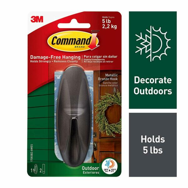 Command Outdoor Large Metallic Bronze Designer Hook w Foam Strips 17083BZ AWES $6.99
