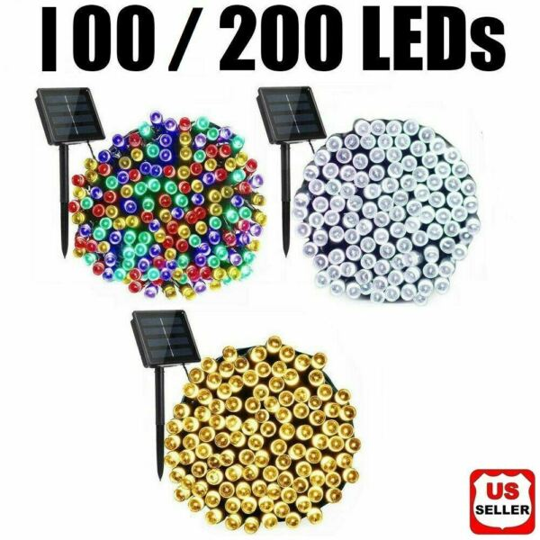 100 200 LED Solar String Fairy Lights 8 Mode Waterproof Outdoor Party Decoration