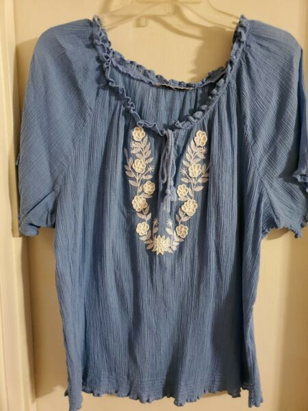 Large women's petite peasant blouse soft flowy heather blue white embroidery
