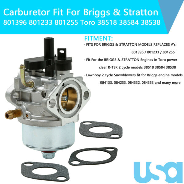 Carburetor Fit For Briggs & Stratton 801396 801233 801255 Snow-Blower Carb R-Tek