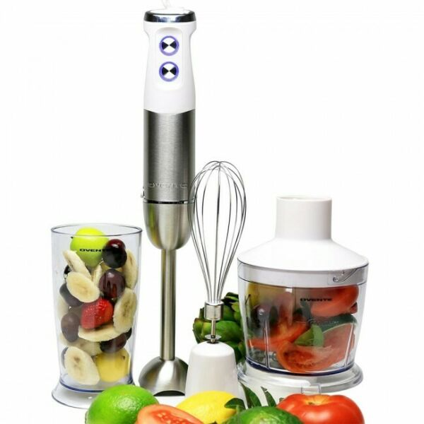 Ovente Immersion Handheld Electric Blender Set 500W 6 Mix Speed White HS685W $38.99