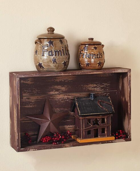Rustic Distressed Brown Wood Crate Wall Shelf Country Home Decor