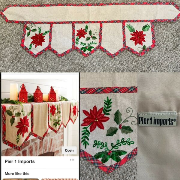 Pier 1 Imports Mantle Scarf Runner Natural Plaid Poinsettia Country Holiday