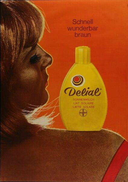 Vintage DELIAL tanning sun lotion style 1969 advertising poster  - A3 A4 $11.99