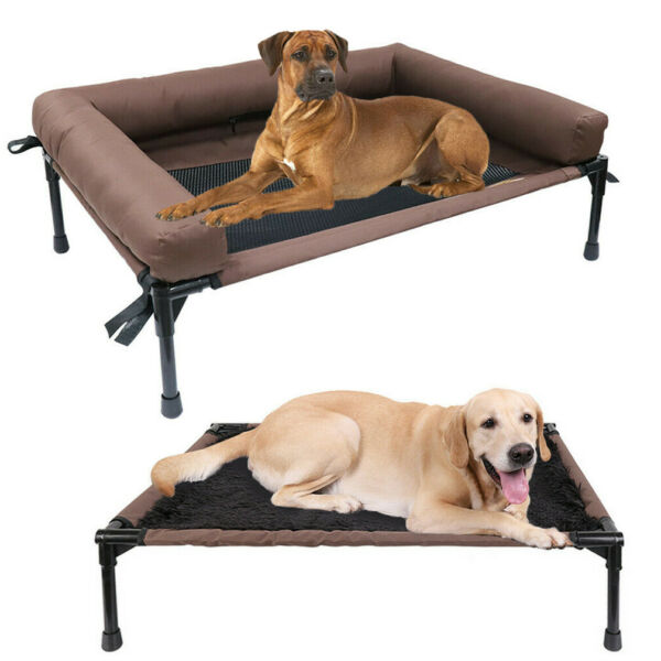 Extra Large Raised Pet Cot Elevated Dog Bed With Mesh or Plush Top Load 132 Lbs