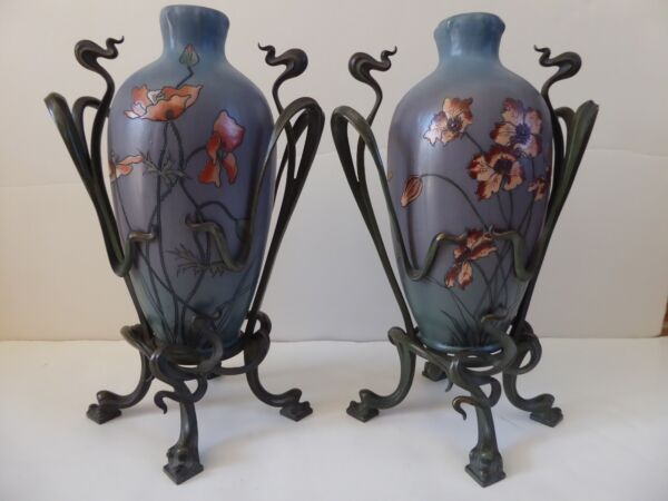 METTLACH ART NOUVEAU POTTERY VASES with BRASS  BRONZE HOLDERS - 1899 - SIGNED