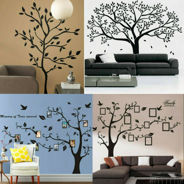 Black Family Tree Stickers Wall Sticker Removable DIY Art Vinyl Mural Home Decor