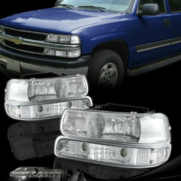 For 2000-2006 Chevy Tahoe Chrome Headlights + Bumper Clear Reflector Lamps Combo