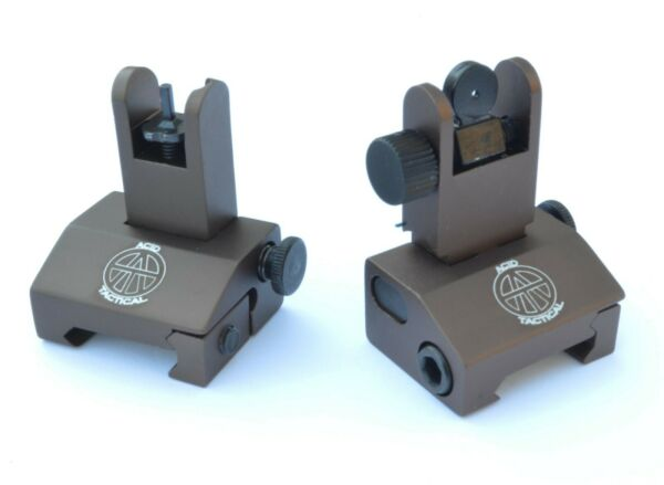 Rifle Iron Sights BUIS 2 Piece Front and Rear Tactical Flip Up Picatinny BROWN