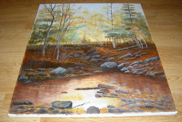 NATURE RESERVATION WOODS FOREST AUTUMN SEASON COLORADO ROCKS STREAM OIL PAINTING