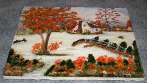 VINTAGE FOLK ART AMERICANA WHITE HOUSE AUTUMN WINTER SNOW LANDSCAPE OIL PAINTING