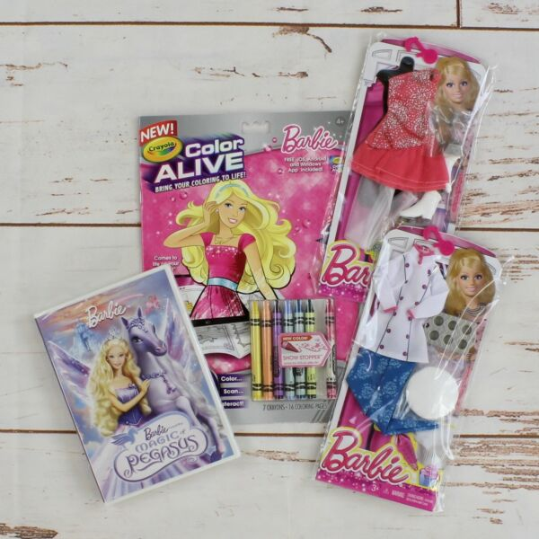 Barbie Birthday Set DVD Coloring Book wCrayons Chef Outfit & Ice Skater Outfit