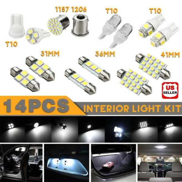 14PcsSet LED Interior Package Kit For T10 36mm Map Dome License Plate Lights US $5.97