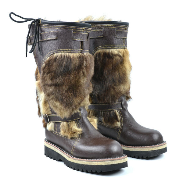 Men's Winter Boots Unty 100% Natural Leather + Fur  Hunting Fishing Tourism