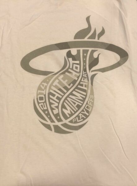 Miami Heat White Logo 2014 NBA Playoffs T Shirt XL NEW Arena Giveaway Promotion $12.00