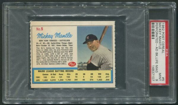 1962 Post Cereal #5 Mickey Mantle Perforated Ad Back Life Mag PSA 9 (MINT)