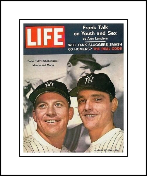 NEW YORK YANKEES MICKEY MANTLE &ROGER MARIS MATTED PIC 1961 LIFE MAGAZINE COVER