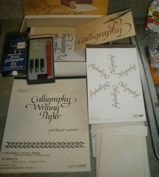 Lot of Calligraphy Items Sheaffer Pen Set Osmiroid Set Paper Envelopes Etc