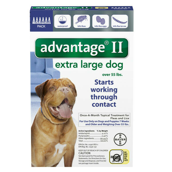 Bayer Advantage II for Dogs Over 55 lbs - 6 Pack - FREE Shipping!