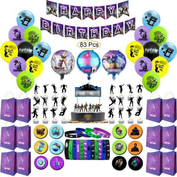 Birthday Party Decoration Set For Video Game Lovers / Unique Design / 83 Piece