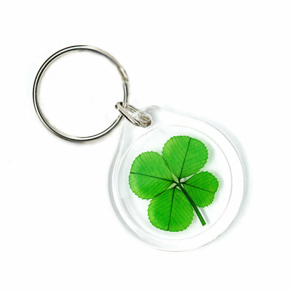 Good Luck Charm Keychain with a Real Four Leaf Clover KT-4L